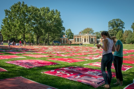 KAREEM OSMAN/PHOTOGRAPHY EDITOR After delays, the Monument Quilt came to the Homewood Campus Wednesday to display reactions to sexual assault.
