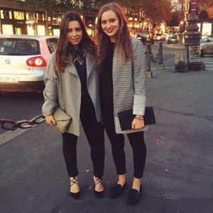 COURTESY OF KATIE RUBERY The writer, left, and a friend pause for a picture on the streets of Paris.
