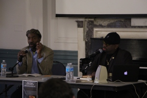 LEON SANTHAHUMAR/Photography editor Students listened to Ralph Peterson, Jr. and Lester Spence speak about music and the black experience in the Great Hall at Levering.