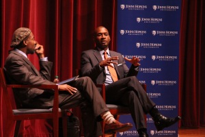 LEON SANTHAKUMAR/Photography Editor Blow and Spence spoke in Shriver Hal about racial inequality.