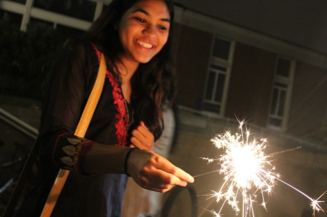 COURTESY OF SAMHITA ILANGO Students celebrated Diwali, the Indian festival of lights, with some students and families burning sparklers, a common practice.