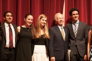 Courtesy of SOFYA FREYMAN Lieberman posed with the MSE co-chairs at Wednesday's event.