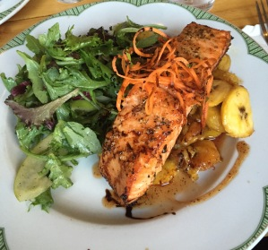 Courtesy of JULINANA VERACKA  My personal favorite dish is the salmon, served on top of fried plantains.