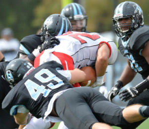 HOPKINSSPORTS.COM Strong defense and great tackling led to Hopkins' 41-5 blowout Saturday.