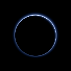 NASA/JHUAPL/SWRI Pluto's blue haze is caused by sunlight scattering off of tholins.
