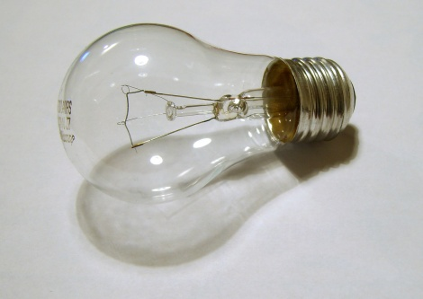 JAMES BOWE/ CC-BY-2.0 Flyte resembles a regular lightbulb but hovers above a wooden base.