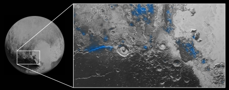 NASA/JHUAPL/SWRI Images of Pluto taken by New Horizons show evidence of many regions of exposed water ice on the planet's surface, highlighted in blue.