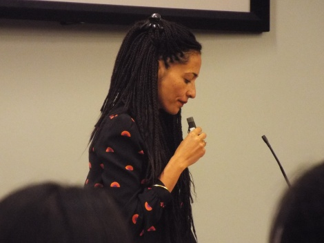 Courtesy of ELLIE HALLENBORG Zadie Smith, a writer who discusses racial themes, visited campus.