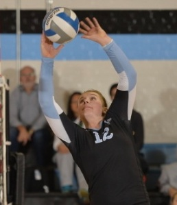 HOPKINSSPORTS.COM Sophomore Kristi Rhead sets the ball in perfect form to her teammate, as the Jays go on to win.