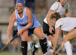 HOPKINSSPORTS.COM Junior Bridget Hampton looks scored Saturday night vs. Gettysburg.